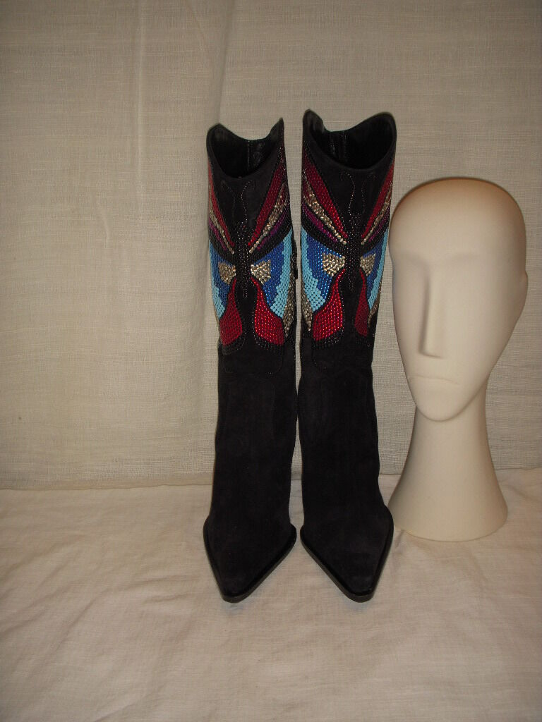 LE SILLA DISPLAY SUEDE BUTTERFLY BLACK HEEL BOOTS WOMEN SIZE 35