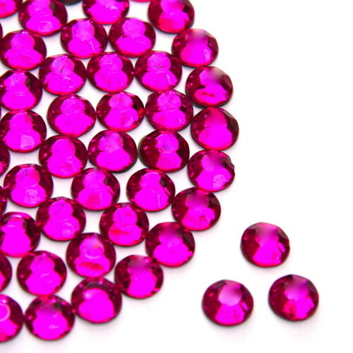 Rhinestones Gems Beautiful Sparkly Fuchsia Flat Back Loose in size 2,3,4,5,6mm