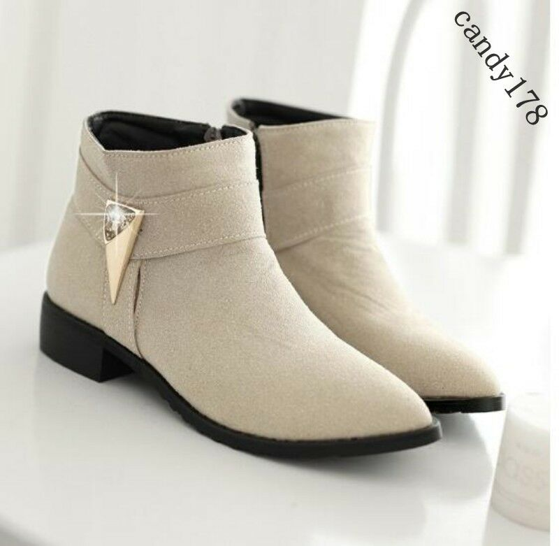 Womens Faux Suede Pointy Toe Zip Metal Decor British Stud Booties Plus Size US