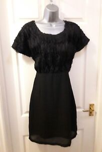 Size-10-Black-Short-Dress-Vera-Moda-Short-Sleeve-Party-Cocktail-Occasion-BNWT
