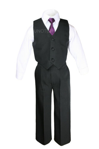 6pc Teenagers Kids Formal Wedding Black Tuxedos Boys Suits 23 Color Necktie 5-20