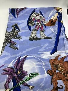 1996-Yugioh-Yu-Gi-Oh-Let-s-Duel-Twin-Flat-Bed-Sheet-60-034-x95-034-Vintage