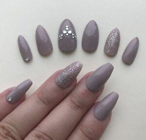 Hand Painted False Nails Any Shape Gloss Nude Glitter Gems