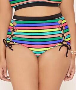 e19abf4c7d Forever 21+ Black Rainbow Stripe Bikini Bottom Lace Up High Waist ...
