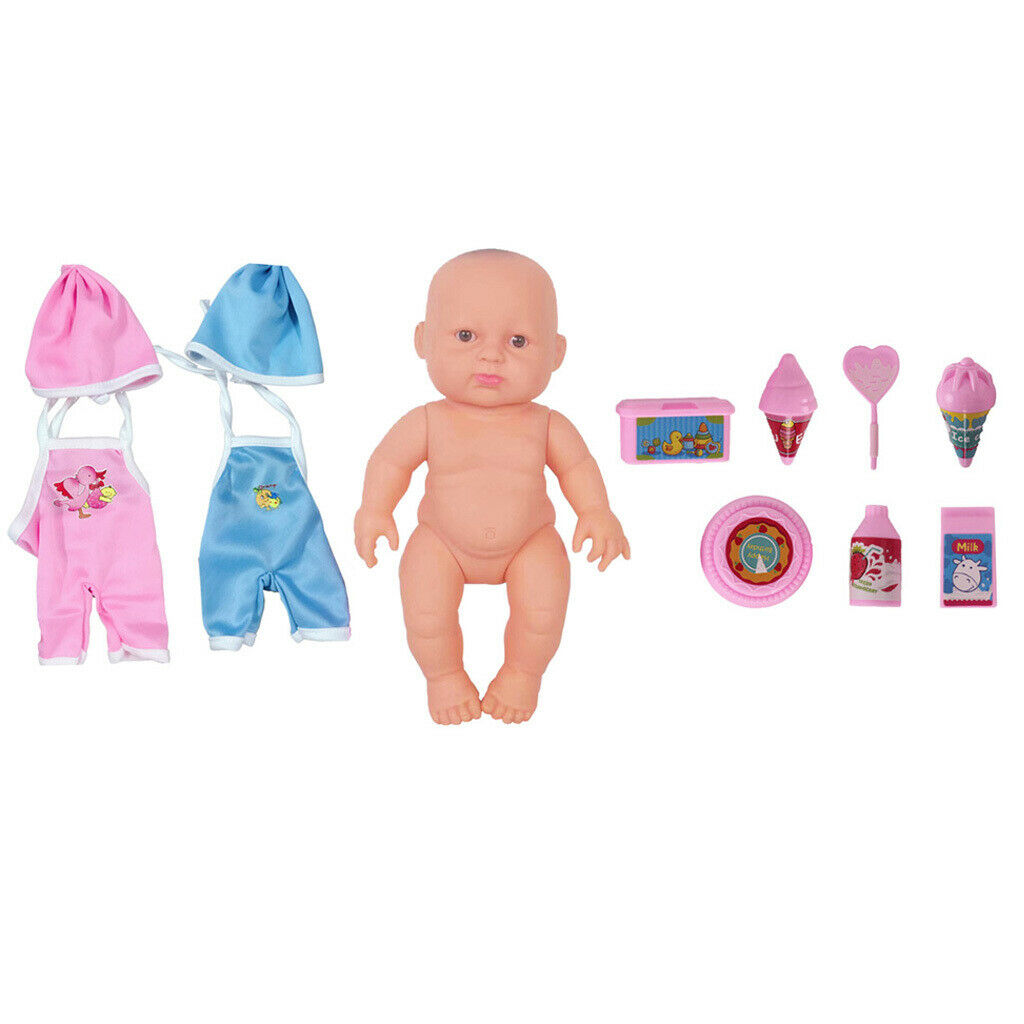 Silicone Reborn Doll Baby Girl Soft w/ Clothes Accessories Cute Gifts Skin