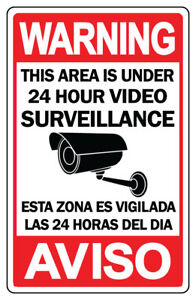 CCTV Warning Security Audio Video Surveillance Camera Sign Spanish / English