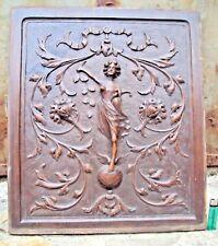 ancienne plaque panneau de bois sculpté 19 ème