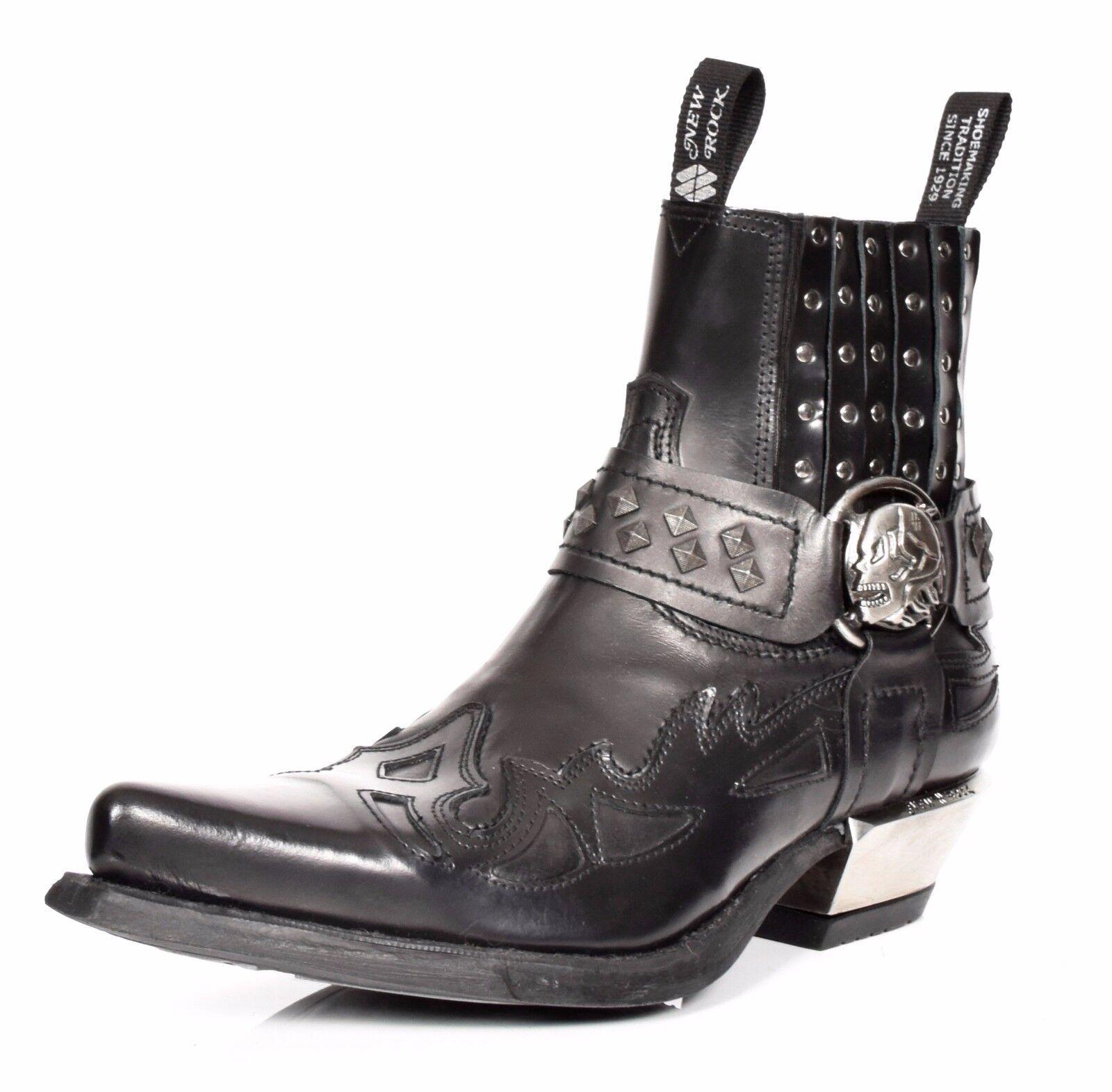 Mocassini Scarpe alla caviglia in pelle nero New Rock Fancy Casual Stivale Chelsea A Punta