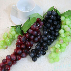 High-Bunch-Lifelike-Artificial-Fresh-Grapes-Plastic-Fake-Fruit-Food-Home-Decor