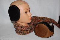 Ear Muffs Two Pair Lot Flat Ear Warmers Faux Fur Inside Soft Outer Black Brown