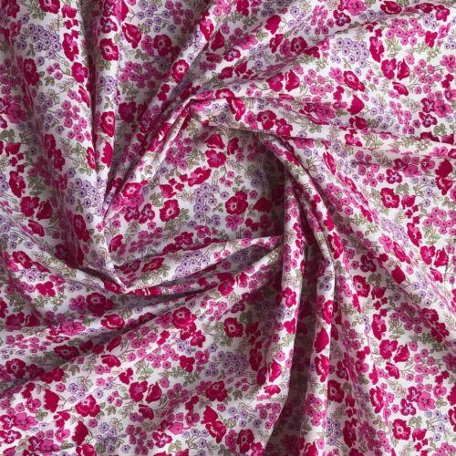 Fleur Housse Fleurs sur 100/% Coton Pelouse couture tissu rose-mètre