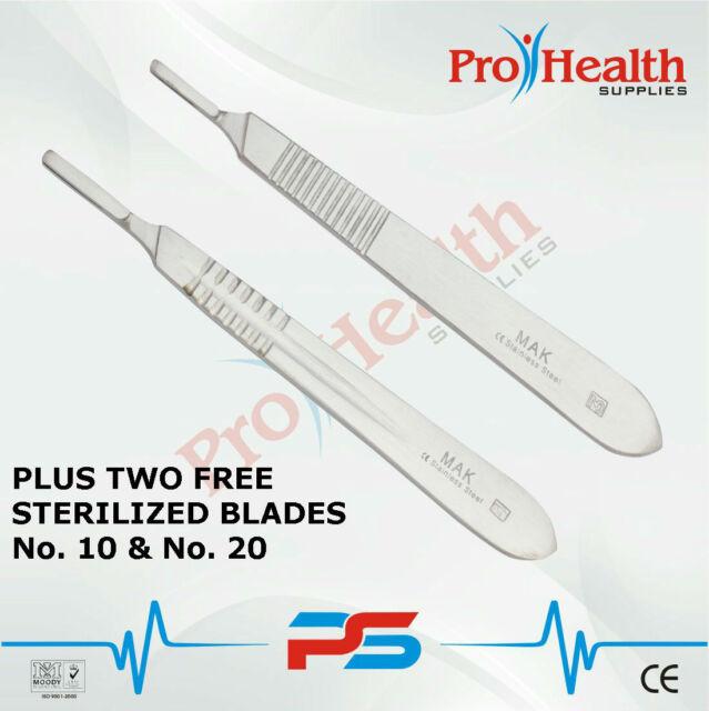"MAK Surgical Scalpel Handles 2pcs #3 & #4 (2 FREE Sterilized Blades) ""FAST SHIP"""