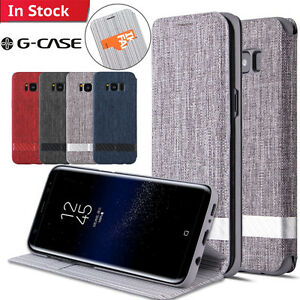 detailed pictures e05bc 3fcee Details about G-CASE Galaxy S9 S9+ S8 Note 8 Flip Wallet Case Canvas  Kickstand Cover F Samsung