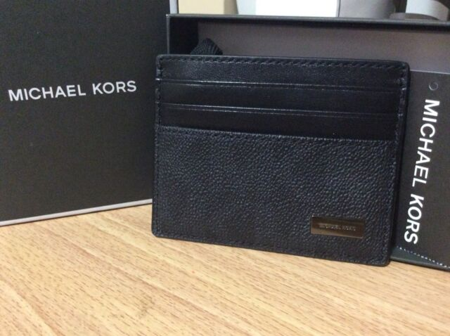 7a5c044021c0 NEW authentic MICHAEL KORS Men's tall Card Case Black leather Mk AUTHENTIC  CARD