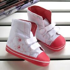 NEW Baby Girls Hi-tops double bar Sneakers Shoes rubber 0-18 months size 1.2.3.4