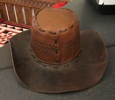 Vintage Tan Mid Brown Tooled Leather Outback Bush Cowboy Hat Barmah Stitching 1