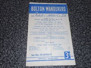 BOLTON-WANDERERS-v-BURNLEY-1956-7-NOVEMBER-24th-FREE-POST