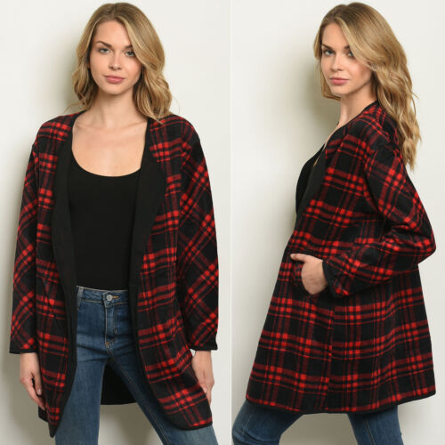 Womens Plaid Cardigan Open Front Loose Oversized Long Sleeve Shirt Blouse Top