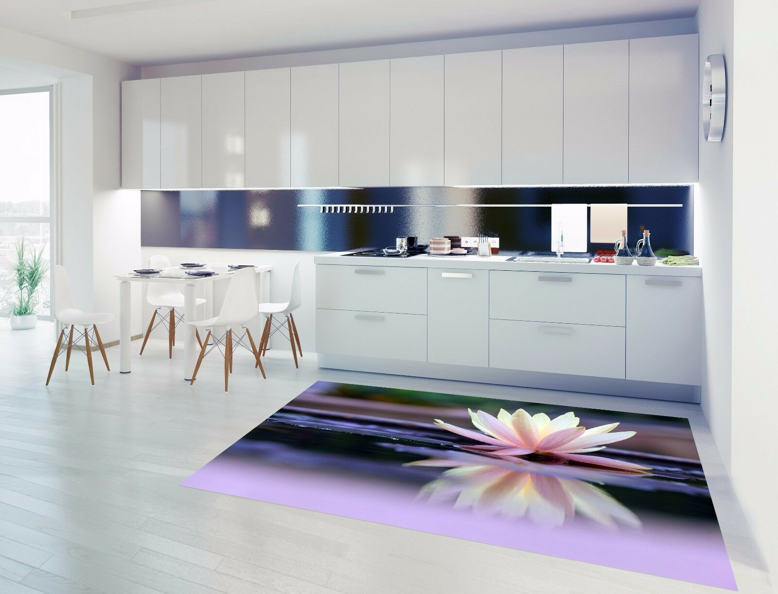 3D Water Lotus 860 Kitchen Mat Floor Murals Wall Print Wall Deco UK Carly