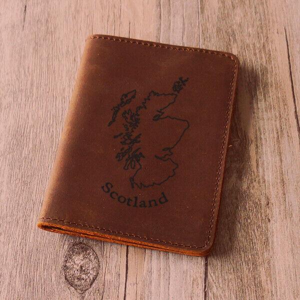 Scotland map Leather Passport Cover - Scottish Wallet Genuine- Handmade