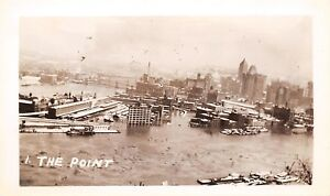 Pittsburgh-Pennsylvania-Miniature-Photograph-The-Point-Under-Flood-Waters-1920s