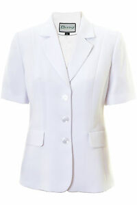 Busy White Short Sleeve Ladies Jacket