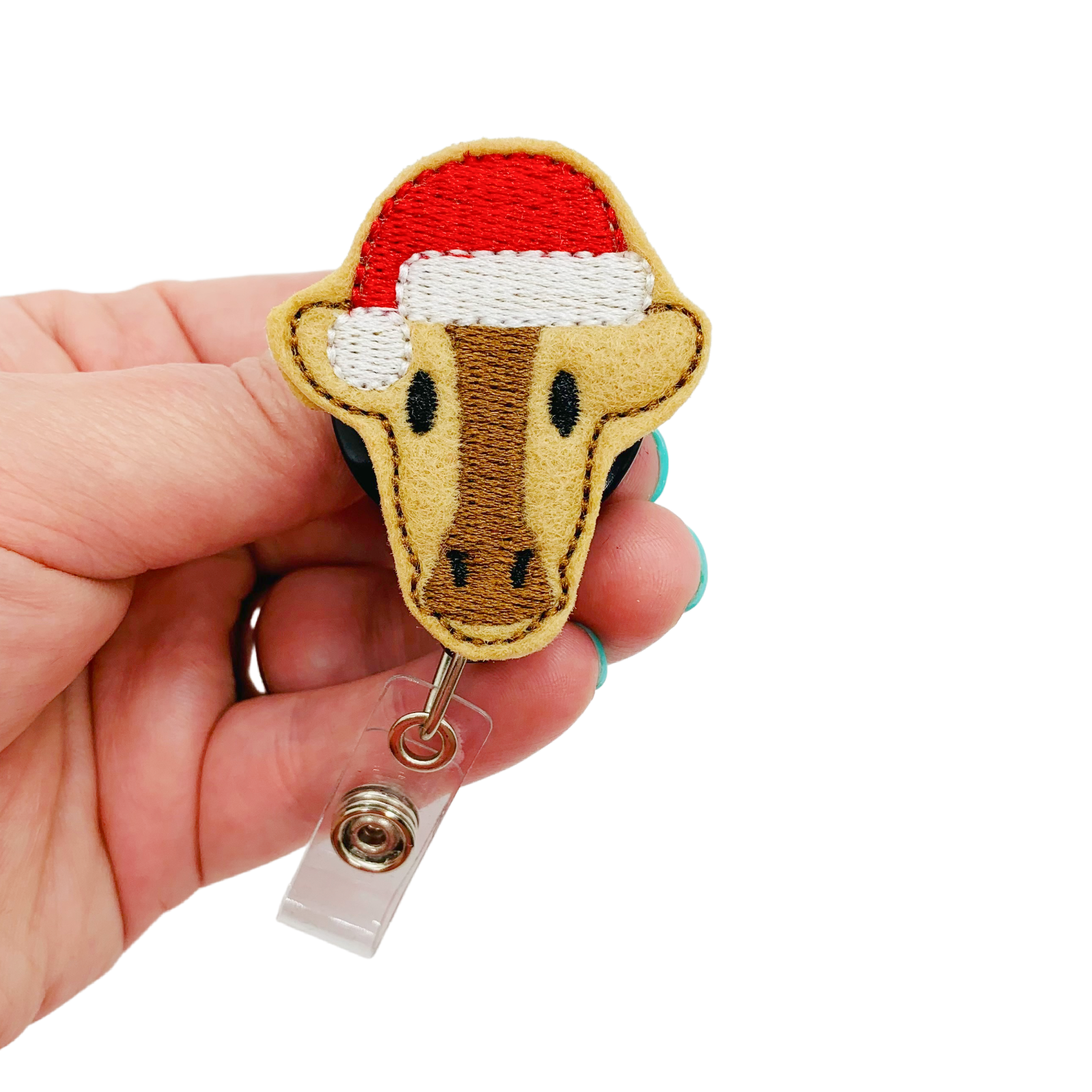 Christmas Cow Badge Reel Heifer Retractable Name Tag ID Holder Work ID Accessory