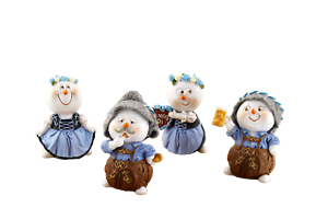 Oktoberfest Schneemänner in Tracht blau Set 6 cm