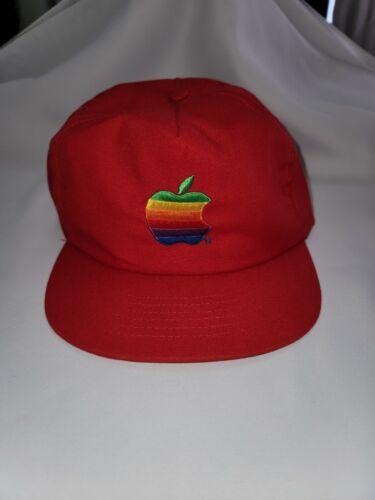 Vintage 80s Apple Computer Mac Red Rainbow Hat Sna