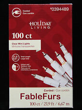 85f6baa03e9 100 CLEAR MINI WHITE CORD WIRE CHRISTMAS TREE STRING LIGHTS HOLIDAY LIVING -
