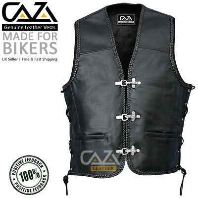 Mens Black Leather Braided Fish Hook Buckle Side Laced Biker Waistcoat Cut Vest