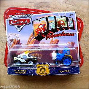 Disney-PIXAR-Cars-MINI-ADVENTURES-Radiator-Springs-McQUEEN-amp-TRACTOR-2-pack-set