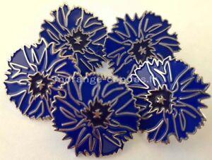 Lot-de-5-Bleuets-insigne-boutonniere-emaille-monte-sur-pin-039-s