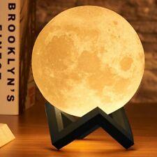 Lampada da Tavolo Luna 15cm Luce LED 3 Colori Moon Lamp a Batteria con Supporto