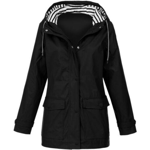 Women Solid Rain Jacket Outdoor Plus Waterproof Hooded  Windproof  Raincoat