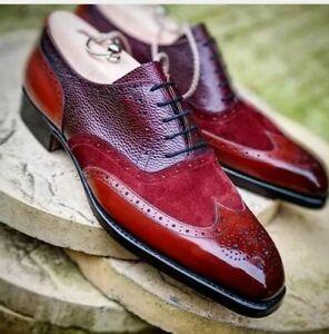 Men-039-s-Handmade-Trois-Tone-aile-Richelieu-a-en-Daim-et-Cuir-Formelle-Chaussures