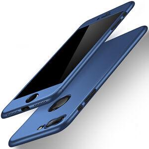 Jet Black 360° Full Cover Hybrid Hard Case For Iphone 6S 7 Plus+Tempered Glass