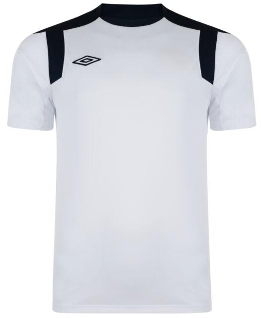 New Mens Umbro Training Top, T-Shirt - White, Blue - Sports Football Fitness Gym