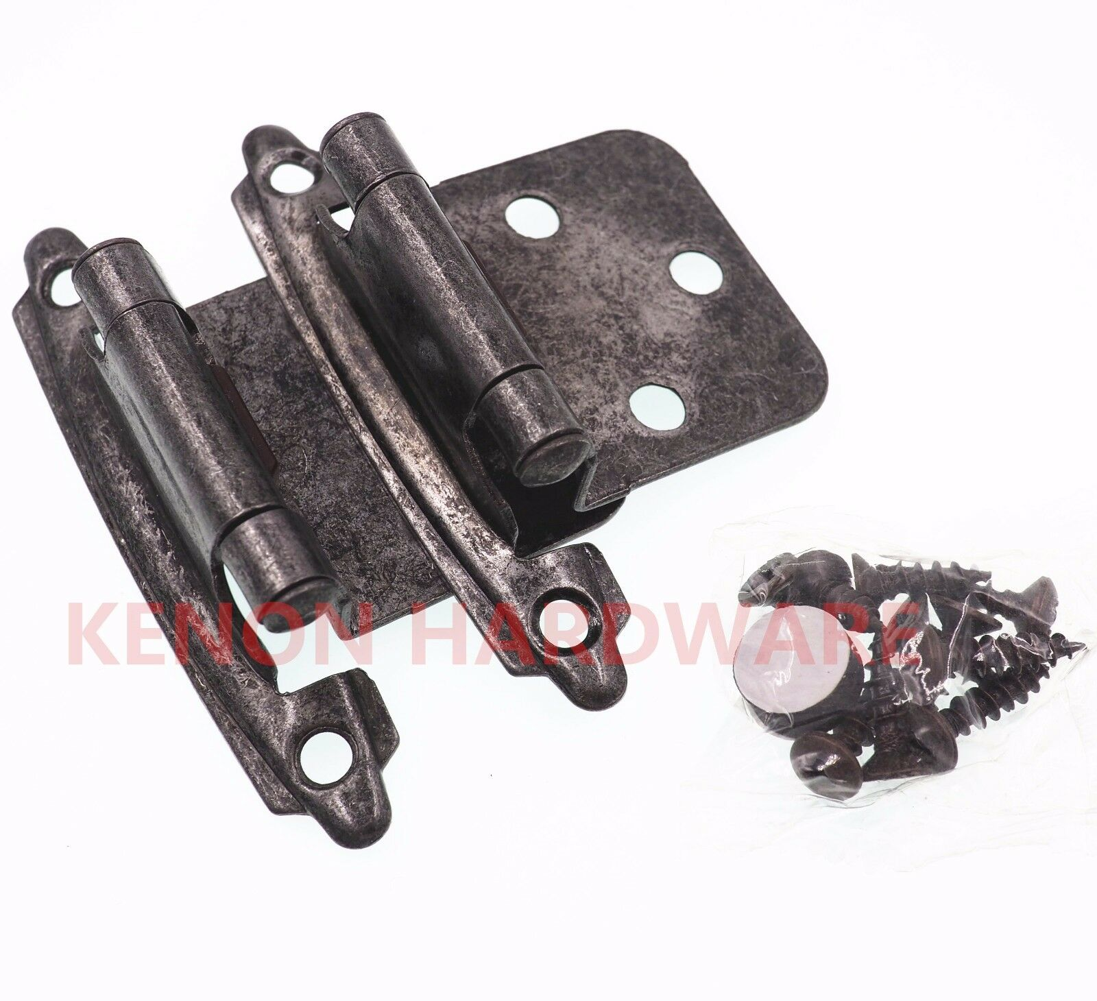 Lot of 25 Pairs /50pcs Self Closing Variable OVERLAY Cabinet Hinges-Vibra Pewter