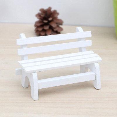 US/_ BL/_ FX Fairy Garden Bench Wooden Chair Doll House Miniature Furniture Ornam