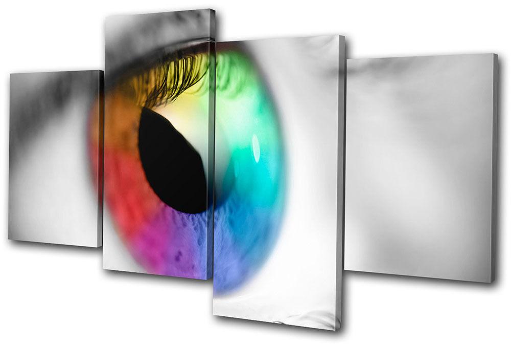 Abstract Rainbow Eye MULTI Leinwand Wand Kunst Bild drucken