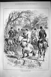 Original-Old-Antique-Print-1883-Evil-Dispositioned-Grey-Horse-Hunting-Scene
