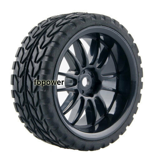 4pcs RC Flat Racing Tires Tyre Wheel Rim Fit HSP HPI 1:10 On-Road Car 6031-6017