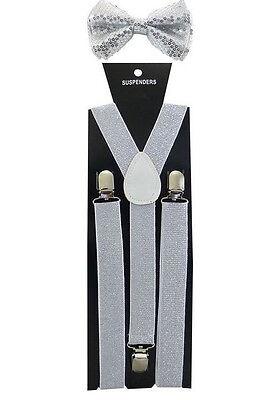 Silver Sequin Suspenders /& Silver Metallic Finish Shiny Bow Tie Set Tuxedo