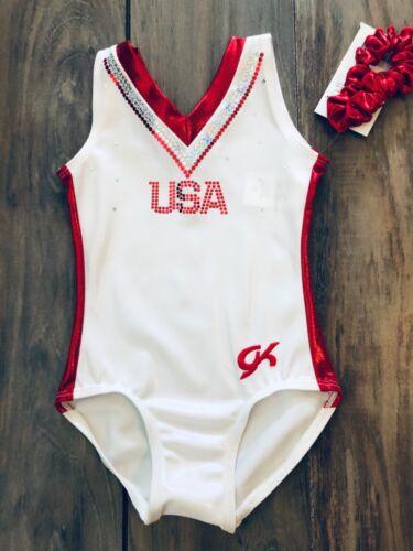 NWT GK Elite White Red USA Team Replica Gymnastics Leotard Adult Sizes AXS AS
