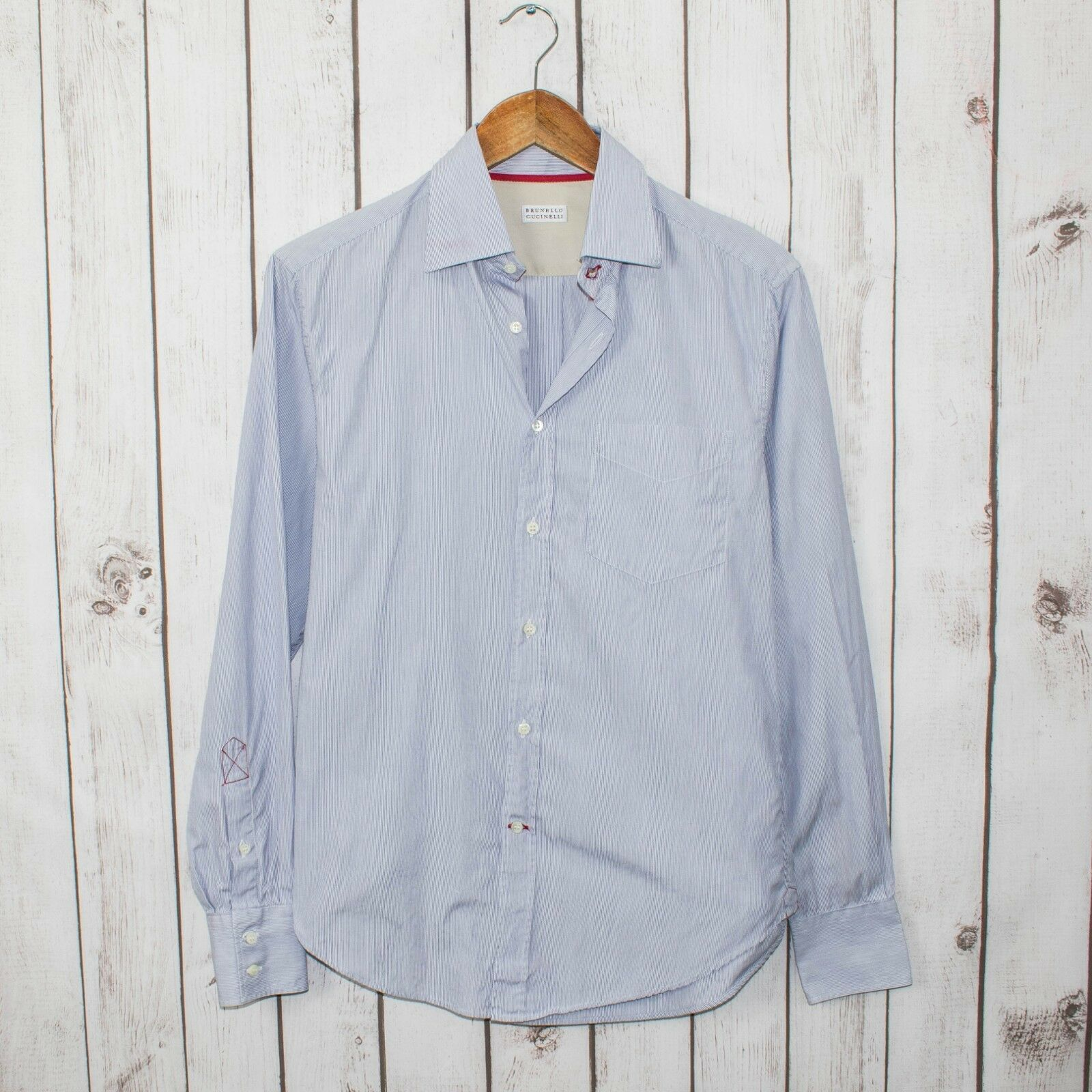 BRUNELLO CUCINELLI Men's Button Front Shirt bluee Striped Sz Small Made in