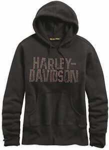 HARLEY-DAVIDSON-WOMEN-039-S-STUDDED-BLACK-HOODIE-96352-19VW-XXLARGE