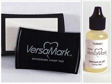 NEW Tsukineko Versamark Watermark Resist Clear Stamp Pad + Re-Inker BUNDLE Set