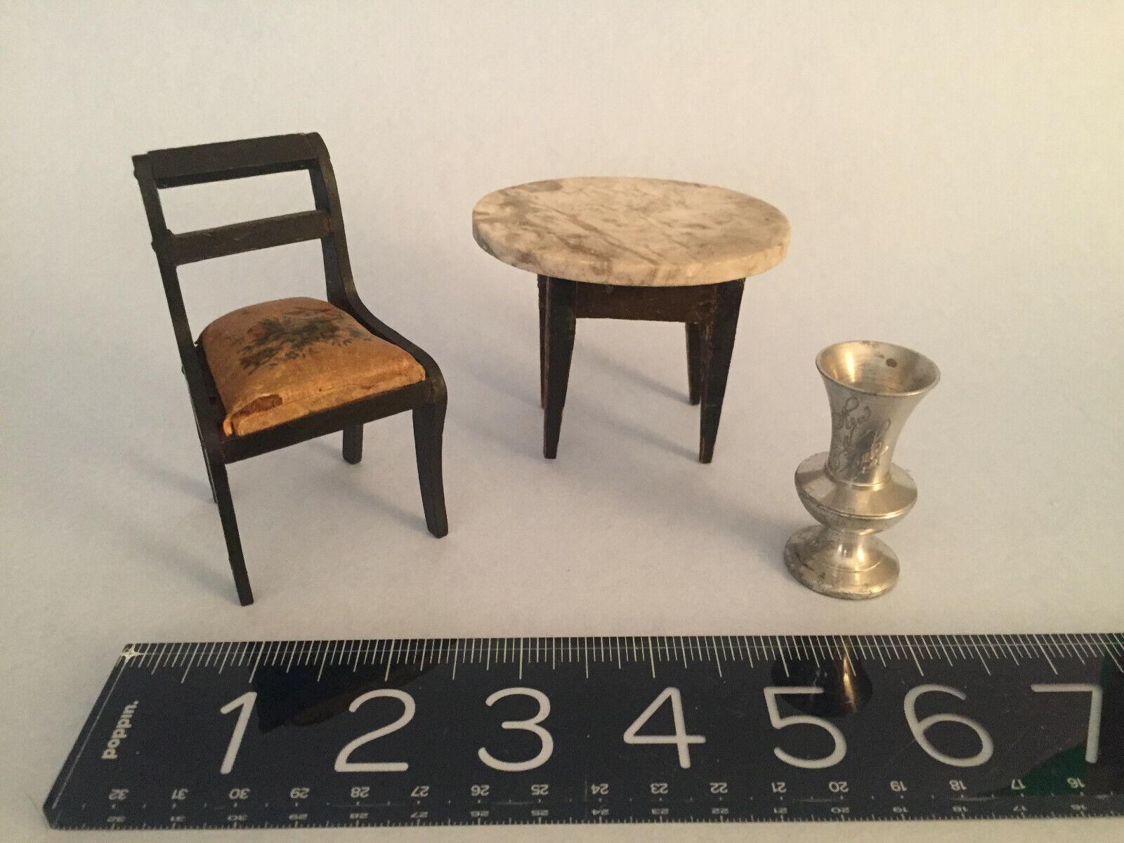 C1840's-70s German 19thc ANTIQUE Dollhouse Biedermeier chair, marble tablNY vase