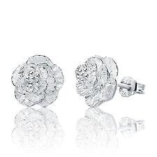 Women Cherry blossoms Lady Elegant Crystal 925 Sterling Silver Ear Stud Earrings